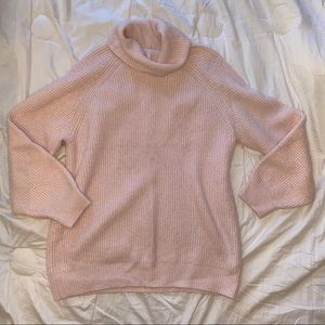 TopShop pink turtle neck oversized sweater